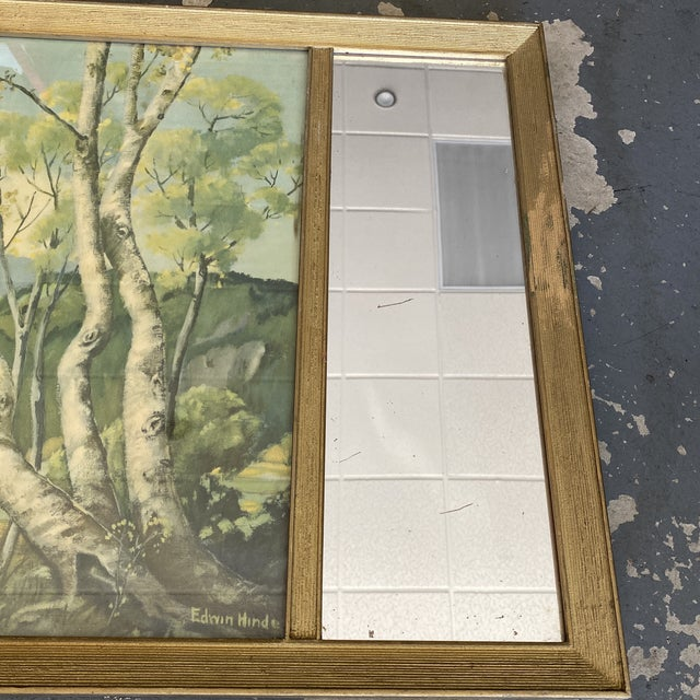 Art Deco Vintage Edwin Hinde Print With Antique Mirror Frame For Sale - Image 3 of 7