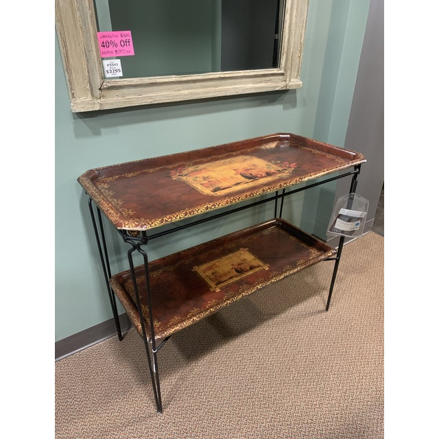 French Two Tier Metal Tole Tray Console or Accent Table For Sale - Image 4 of 11