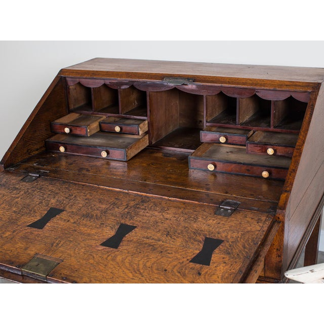 Mahogany Antique English George III Period Oak Slant Front Desk circa 1760 For Sale - Image 7 of 10