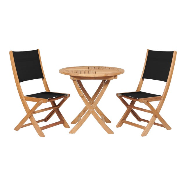 Stella 3-Piece Teak Outdoor Round Folding Table and Chair Bistro Set in Black For Sale