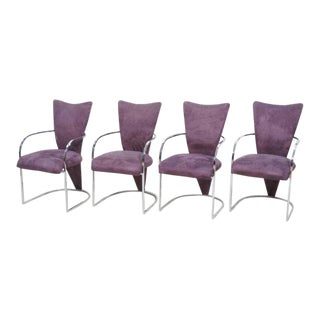Design Institute America Modern Chrome Dining Chairs - Set of 4 For Sale