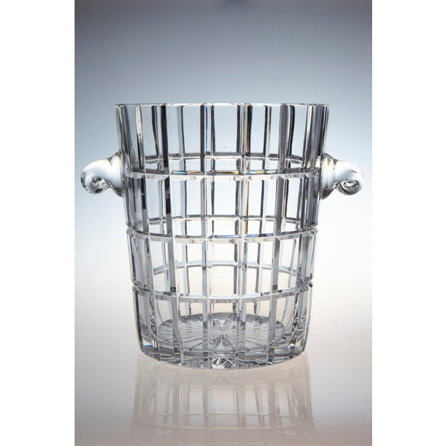 Extremely heavy and impressive French crystal wine cooler or champagne ice bucket with a graphic cut design and sculpted...