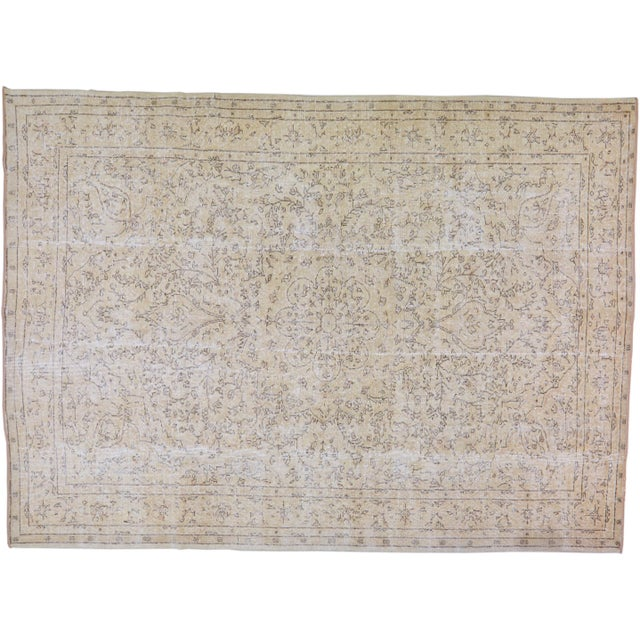 "Vintage Turkish Hand Knotted Whitewash Organic Wool Fine Weave Rug,7'x9'8"" For Sale In New York - Image 6 of 6"