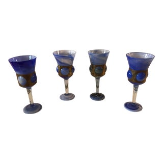 20th - Century Blue Swirl Glass and Brass Goblets - Set of 4 For Sale