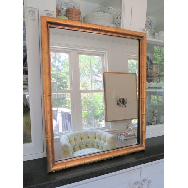 Hollywood Regency Vintage Palm Beach Style Gilt Faux Bamboo Rectangular Mirror For Sale - Image 3 of 13