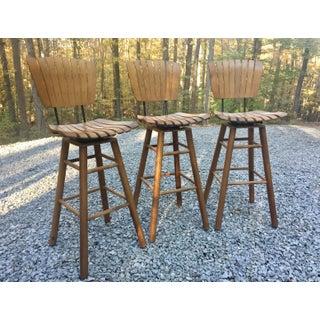 Vintage Arthur Umanoff Style Tall Wood Slat Swivel Bar Stools Preview
