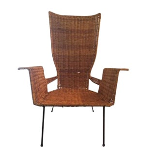 1950s Mid Century Modern Wicker and Iron Arm Chair