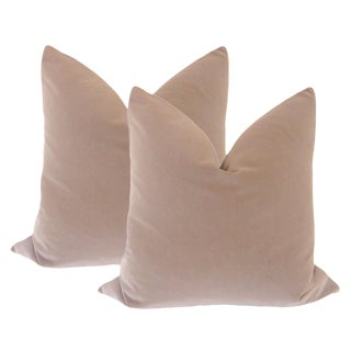 "22"" Taupe Velvet Pillows - a Pair For Sale"