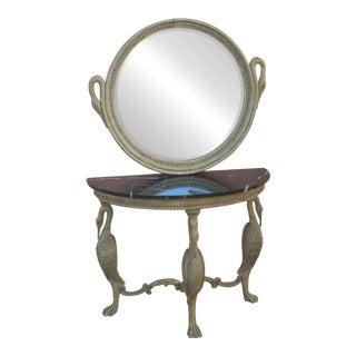1950s American Classical Royal Crane Cream Wood Console & Mirror - Set of 2