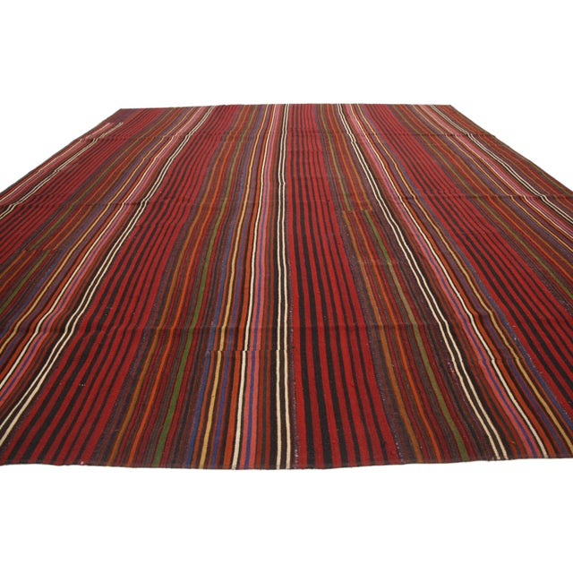 Contemporary Late 20th Century Vintage Turkish Jajim Kilim Flat-Weave Rug - 9′9″ × 12′5″ For Sale - Image 3 of 6
