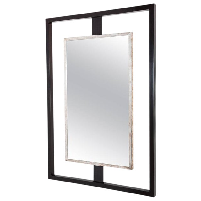 Paul Marra Negative Space Mirror with Distressed Silver Inner Frame For Sale