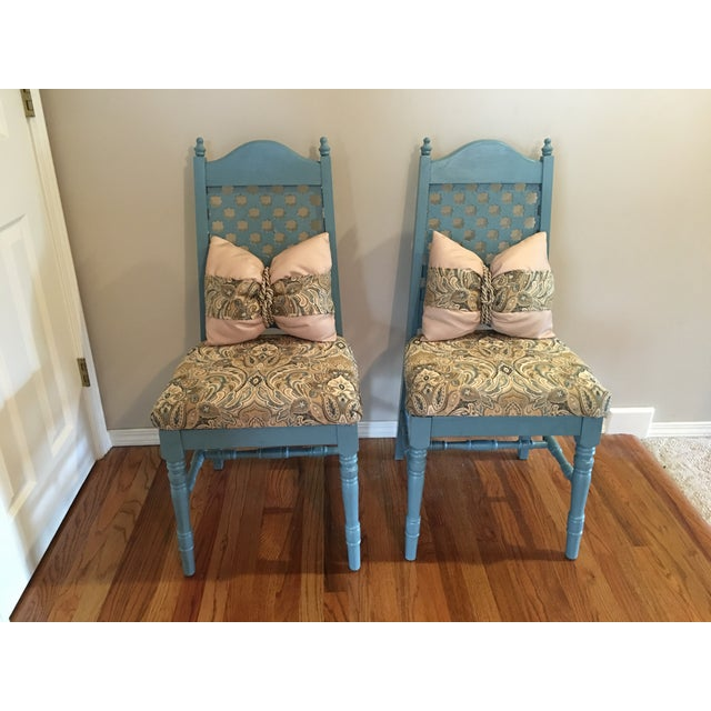 Vintage Blue Cottage Chairs - A Pair - Image 3 of 7