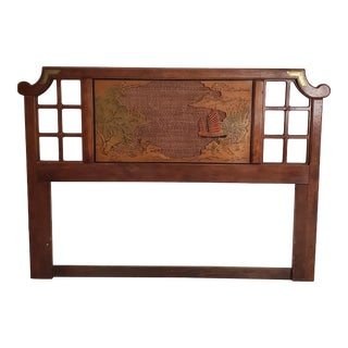 Vintage Chinoiserie Style Queen Headboard For Sale