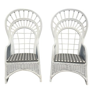 Vintage White Rattan Peacock Wicker High Back Throne Chairs - a Pair