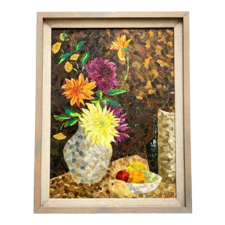 Vintage Original Cubist Style Painting For Sale