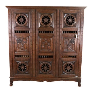 1800's-1900's Antique Triple Door French Breton Style Oak Armoire For Sale
