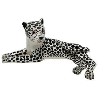 Italian Art Deco Black and White Cheetah or Leopard Cat Sculpture, Large