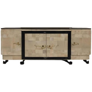 "French Art Deco Parchment Buffet with Ebony Marble Top and ""Portor"" Legs For Sale"