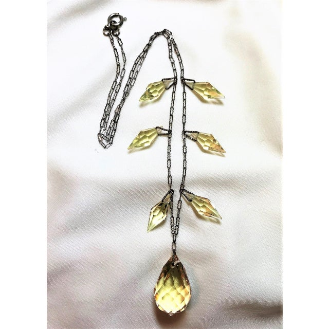 Art Deco Circa 1920s Czechoslovakian Yellow Faceted Drop Necklace For Sale - Image 3 of 8