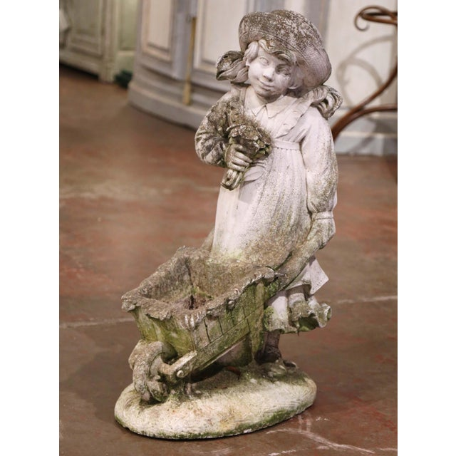 19th Century French Weathered Cast Concrete Garden Girl & Wheelbarrow Sculpture For Sale - Image 12 of 12