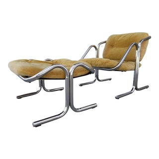 Jerry Johnson Chrome Lounge Chair & Ottoman - a Pair For Sale