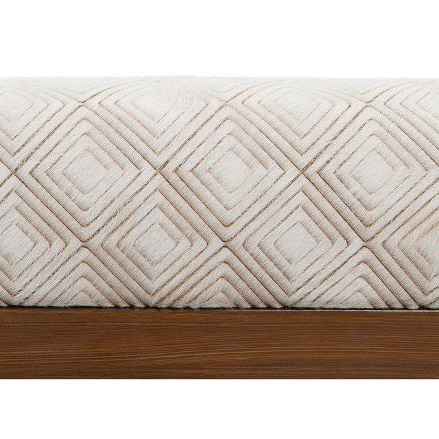 Contemporary Walnut Bench With Laser Cut Cowhide Upholstered Seat For Sale - Image 3 of 6