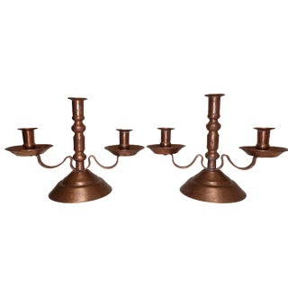 Pair of Hammered Copper Candle Holders, Mexican Early to Mid 20th Century For Sale