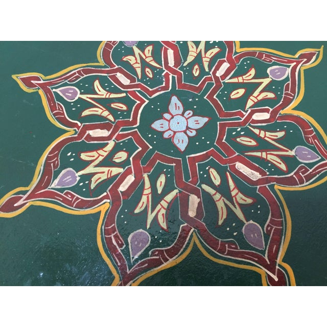 Wood Moroccan Hand Painted Table With Moorish Designs For Sale - Image 7 of 12