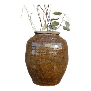 Antique Golden Brown Burmese Martaban Jar For Sale