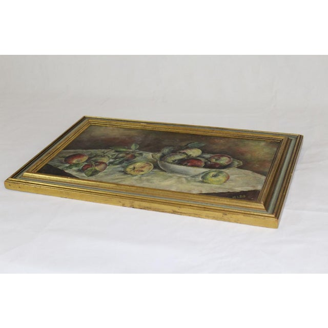 Traditional 1930s Vintage Still Life With Apples Painting For Sale - Image 3 of 7