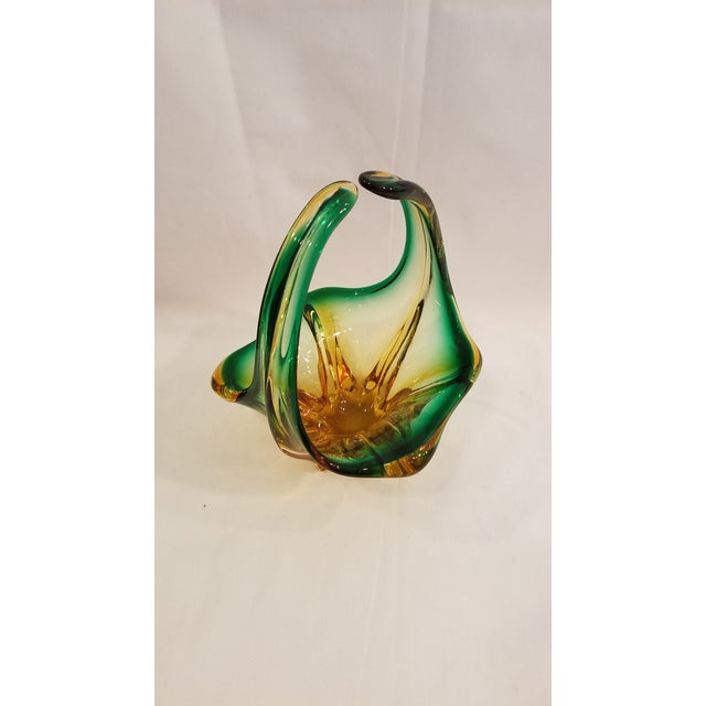 Green Vintage Mid Century Murano Mouth Blown Glass Basket, Made in Italy, Condition, Green and Gold For Sale - Image 8 of 11