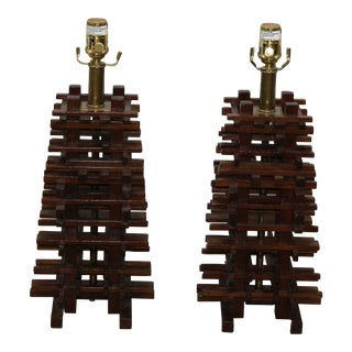 Vintage Layered Wooden Lamps - A Pair