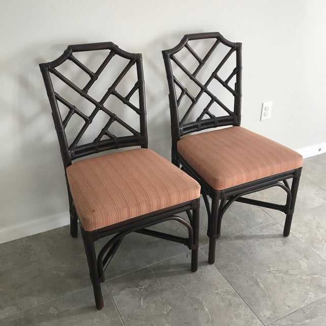 Palecek Pavilion Chippendale Upholstered Side Chairs - A Pair - Image 2 of 6