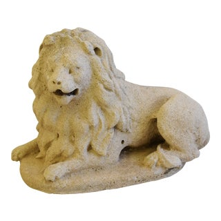 Antique French Sandstone Lion Statue Figure For Sale