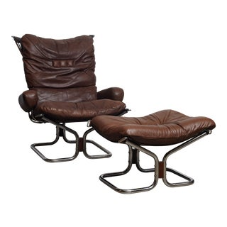 """1970s Vintage Harald Relling for Westnofa """"Wing"""" Chair and Ottoman For Sale"""