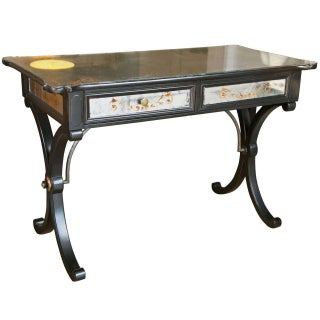 Jansen-Style Verre Eglomisé Desk For Sale