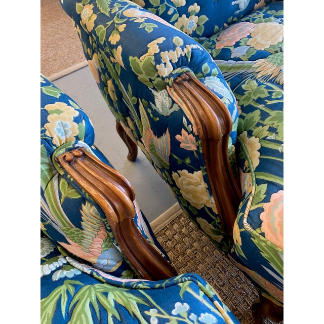 1970s Vintage Quilted Chairs and Ottoman - Set of 3 For Sale - Image 5 of 10