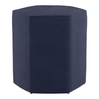 Hexagonal Ottoman in Navy Velvet For Sale