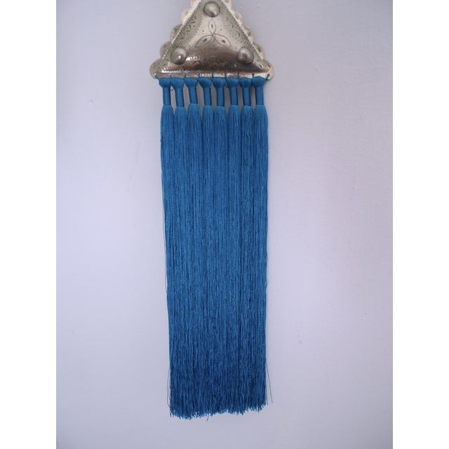 Moroccan Blue Silk & Brass Tassel Ornament - Image 6 of 8
