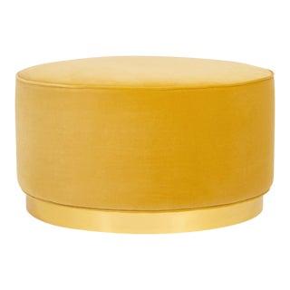 Chubby Ottoman in Mustard Velvet For Sale