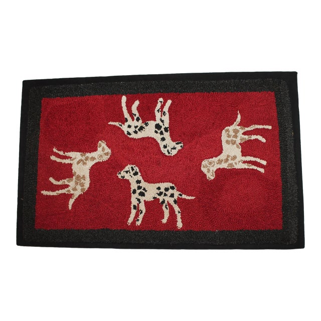 1920s Hand Hooked and Mounted Pictoral Dogs Rug - Image 1 of 5