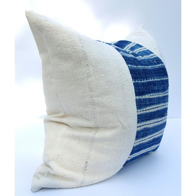 African Mud Cloth White and Blue Striped Pillow - Image 2 of 4