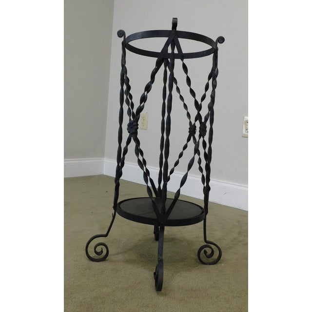 Aesthetic Antique Hand Wrought Iron Umbrella Stand For Sale - Image 10 of 13