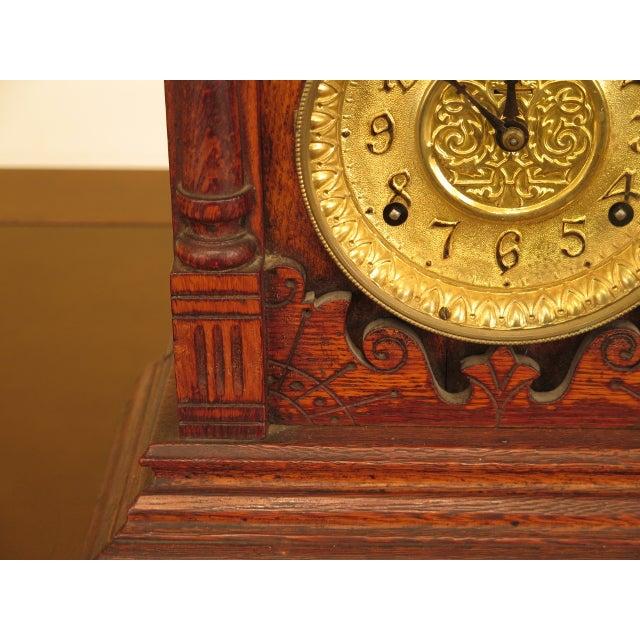 Antique Victorian Oak Mantle Clock For Sale - Image 4 of 10