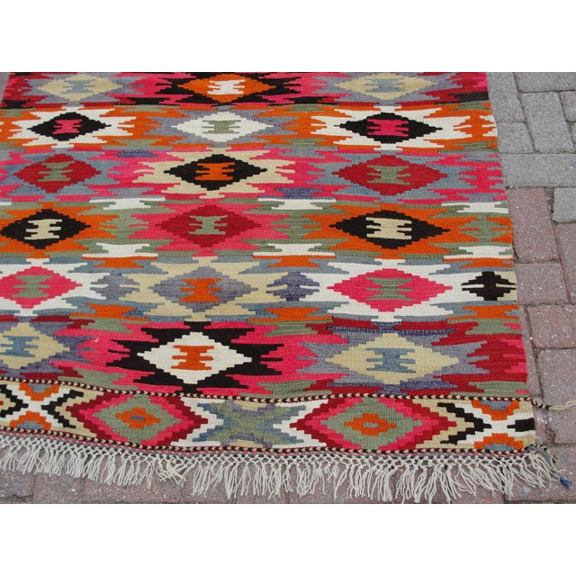 Vintage Turkish Kilim Rug - 4′4″ × 6′10″ For Sale - Image 9 of 11