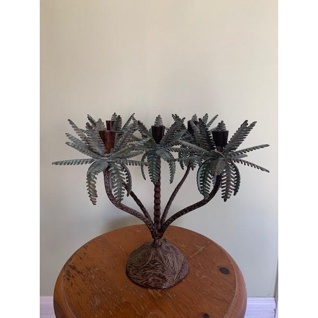 1960s Tole Palm Tree Candelabra Taper Holder For Sale In Chicago - Image 6 of 7
