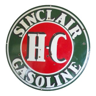 Two-Sided Porcelain Man Cave Gas Station Advertising Sign For Sale