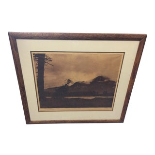 Edward Curtis Tissue Photogravure Evening on the Columbia For Sale