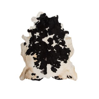 Handmade Black & White Cowhide Area Rug - 6′ × 7′ For Sale