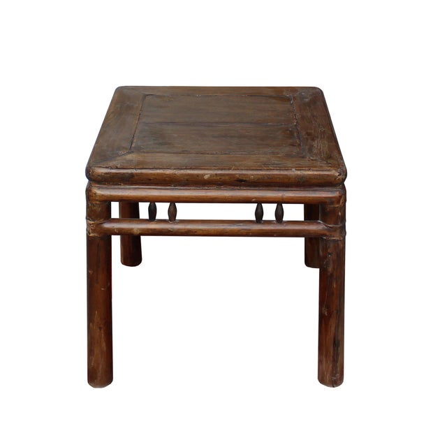This is a handmade vintage Ming-style wood stool/side table. It has simple round polish legs and extra apron bar design....
